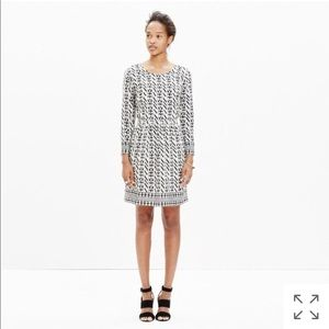 Madewell Silk Geometric Stripe Dress